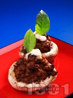 Пълнени гъби печурки с телешка кайма, спанак и моцарела на фурна - снимка на рецептата